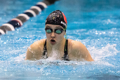 Cheshire's Alexandra Nawrocki swims the breast stroke in the 200 medley relay Tuesday during the CIAC Class L swimming finals at the Hutchinson Natatorium on the campus of SCSU in New Haven November 13, 2018 | Justin Weekes / Special to the Record-Journal