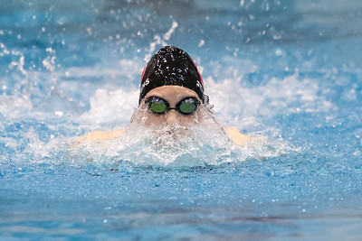 Cheshire's Jillian Stevens swims the butterfly stroke in the 200 individual medley Tuesday during the CIAC Class L swimming finals at the Hutchinson Natatorium on the campus of SCSU in New Haven November 13, 2018 | Justin Weekes / Special to the Record-Journal