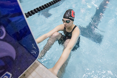 Cheshire's Jillian Stevens gets set to start the 200 medley relay Tuesday during the CIAC Class L swimming finals at the Hutchinson Natatorium on the campus of SCSU in New Haven November 13, 2018 | Justin Weekes / Special to the Record-Journal