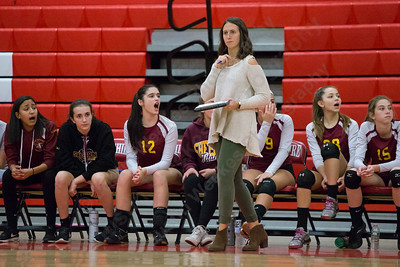 Sheehan's head coach Victoria Sperrazza watches as her Titans hang tough with Cheshire Thursday during the SCC semifinals at Cheshire High School in Cheshire November 2, 2017 | Justin Weekes / For the Record-Journal