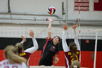 Cheshire's Lindsey Abramson gets off a spike for a kill Thursday during the SCC semifinals at Cheshire High School in Cheshire November 2, 2017   Justin Weekes / For the Record-Journal