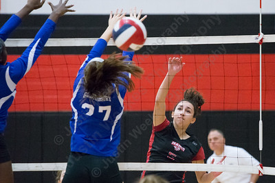 Cheshire's Elena Piran drives a spike down the line for a kill Saturday during the CIAC Class LL quarterfinals at Cheshire High School in Cheshire November 11, 2017 | Justin Weekes / For the Record-Journal