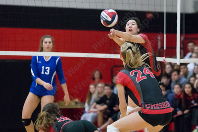 Cheshire's Jenny Wang plays a dig on the third touch over the net Saturday during the CIAC Class LL quarterfinals at Cheshire High School in Cheshire November 11, 2017 | Justin Weekes / For the Record-Journal