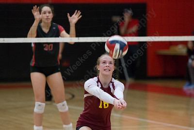 Sheehan's Kari Dietle digs a set Thursday during the SCC semifinals at Cheshire High School in Cheshire November 2, 2017   Justin Weekes / For the Record-Journal