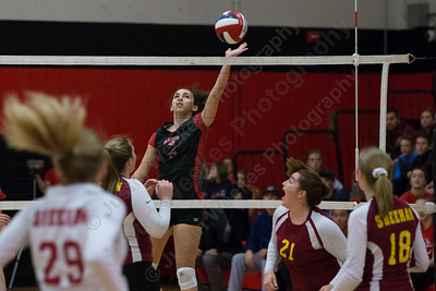 Cheshire's Elena Piran puts on a soft touch for a kill Thursday during the SCC semifinals at Cheshire High School in Cheshire November 2, 2017   Justin Weekes / For the Record-Journal