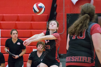 Cheshire's Ariana Perlini digs a third touch over the net Saturday during the CIAC Class LL quarterfinals at Cheshire High School in Cheshire November 11, 2017 | Justin Weekes / For the Record-Journal