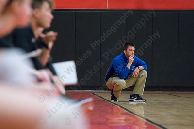 Glastonbury's head coach Matt Warner watches as the Rams take game two Saturday during the CIAC Class LL quarterfinals at Cheshire High School in Cheshire November 11, 2017 | Justin Weekes / For the Record-Journal