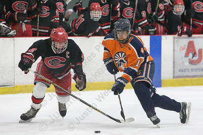 Lyman Hall's Matt Pettit cuts into the slot Tuesday at the Northford Ice Pavilion in Northford December 19, 2017 | Justin Weekes / For the Record-Journal