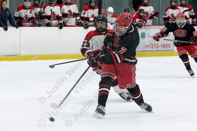 Cheshire's Liam Killea gets a shot on goal Saturday at the Northford Ice Pavilion in Northford February 3, 2018   Justin Weekes / Special to the Record-Journal
