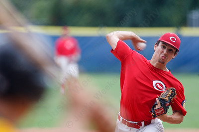 Cheshire's Paul Watson delivers a pitch to RCP's Kevin Radziewicz (7)  Saturday at Cubeta Stadium in Stamford August,2 2014 | Justin Weekes / For the Record-Journal