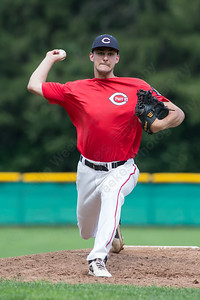 Cheshire's Kyle Waldron (35) warms up between innings Wednesday at Cheshire High School in Cheshire Jul. 22, 2015 | Justin Weekes / For the Record-Journal