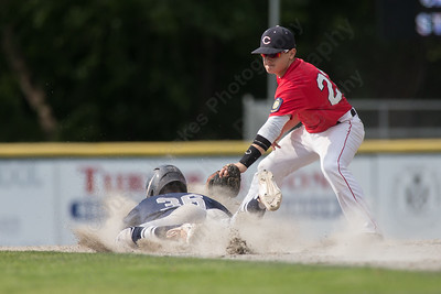 Cheshire's catcher Wes Robertson (4) guns down a stealing Stamford's Randy Polonia (36) with Altrin Kabashi (22) at second Saturday during the first round of the State tournament at Palmer Field in Middletown Jul. 25, 2015 | Justin Weekes / For the Record-Journal