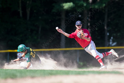 Cheshire's Cooper Mrowka (9) throws to first after forcing Hamden's James Magson (23) at second Wednesday at Cheshire High School in Cheshire Jul. 22, 2015 | Justin Weekes / For the Record-Journal