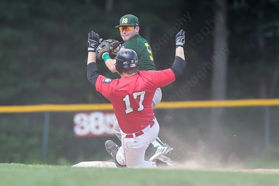Cheshire's Adam Von Fischer (17) slides into second Wednesday at Cheshire High School in Cheshire Jul. 22, 2015 | Justin Weekes / For the Record-Journal
