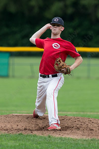 Cheshire's Connor Davey (24) delivers a pitch Wednesday at Cheshire High School in Cheshire Jul. 8, 2015 | Justin Weekes / For the Record-Journal