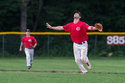 Cheshire's Cooper Mrowka (9) calls for the ball on an infield fly ball  Wednesday at Cheshire High School in Cheshire Jul. 8, 2015   Justin Weekes / For the Record-Journal