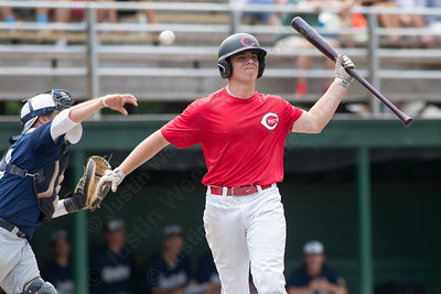 Cheshire's Nick Sansone (33) grimaces after missing a bunt Saturday during the first round of the State tournament at Palmer Field in Middletown Jul. 25, 2015 | Justin Weekes / For the Record-Journal