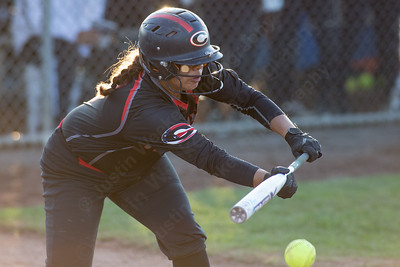 Cheshire's Jade Barnes gets a bunt in play to advance runners Monday during the CIAC Class LL semifinals at West Haven High School in West Haven June 4, 2018 | Justin Weekes / Special to the Record-Journal