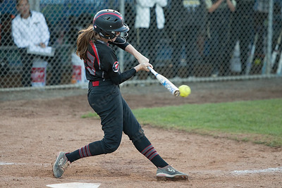 Cheshire's Ariana Perlini drives in a run making it 4-4 Monday during the CIAC Class LL semifinals at West Haven High School in West Haven June 4, 2018 | Justin Weekes / Special to the Record-Journal