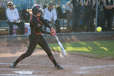 Cheshire's Sara Mulligan drives in a run to put the Rams up first Monday during the CIAC Class LL semifinals at West Haven High School in West Haven June 4, 2018 | Justin Weekes / Special to the Record-Journal