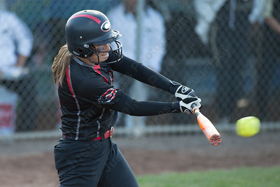 Cheshire's Brianna Pearson gets on board with a single Monday during the CIAC Class LL semifinals at West Haven High School in West Haven June 4, 2018 | Justin Weekes / Special to the Record-Journal
