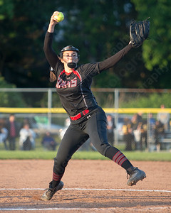 Cheshire's Jade Barnes delivers a pitch Monday during the CIAC Class LL semifinals at West Haven High School in West Haven June 4, 2018 | Justin Weekes / Special to the Record-Journal