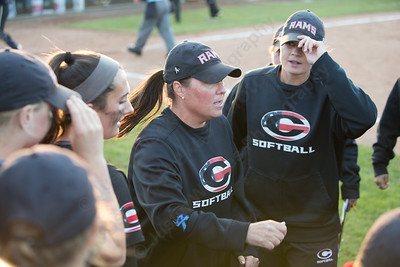 Cheshire's head coach Kristine Drust rallies the team between innings Monday during the CIAC Class LL semifinals at West Haven High School in West Haven June 4, 2018 | Justin Weekes / Special to the Record-Journal