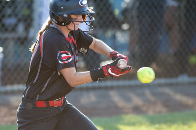 Cheshire's Brianna Floyd gets on board with a single Monday during the CIAC Class LL semifinals at West Haven High School in West Haven June 4, 2018 | Justin Weekes / Special to the Record-Journal