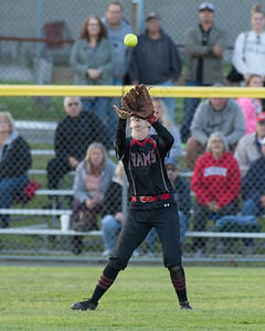 Cheshire's Sara Mulligan brings in a fly ball Monday during the CIAC Class LL semifinals at West Haven High School in West Haven June 4, 2018 | Justin Weekes / Special to the Record-Journal