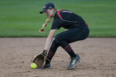 Cheshire's Mia Juodiatis fields a ground ball Monday during the CIAC Class LL semifinals at West Haven High School in West Haven June 4, 2018   Justin Weekes / Special to the Record-Journal