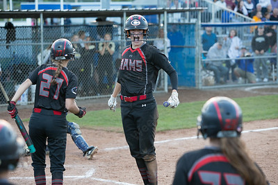Cheshire's Emma Watkinson celebrates after scoring Monday during the CIAC Class LL semifinals at West Haven High School in West Haven June 4, 2018   Justin Weekes / Special to the Record-Journal