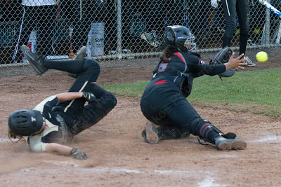Trumbull's Meghan Geraghty beats the throw home Monday during the CIAC Class LL semifinals at West Haven High School in West Haven June 4, 2018   Justin Weekes / Special to the Record-Journal