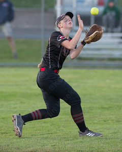 Cheshire's Mia Juodiatis with a shallow fly ball Monday during the CIAC Class LL semifinals at West Haven High School in West Haven June 4, 2018   Justin Weekes / Special to the Record-Journal