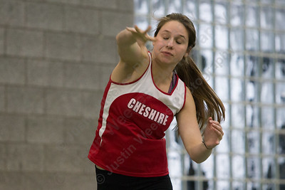 Cheshire's Ellie Murphy makes an attempt in shot put Friday during the Indoor Track Finals at the Floyd Little Athletic Center in New Haven February 2, 2018 | Justin Weekes / Special to the Record-Journal