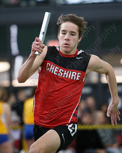 Cheshire's Eric Sudhoff in the 4x200 Saturday during the CIAC Class LL Indoor Track Finals at Floyd Little Athletic Center in New Haven February 10, 2018 | Justin Weekes / Special to the Record-Journal