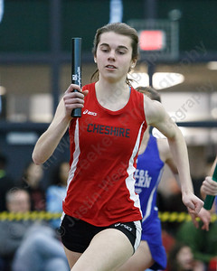 Cheshire's Lauren Daddi in the 4x800 Thursday at Floyd Little Athletic Center in New Haven February 8, 2018 | Justin Weekes / Special to the Record-Journal