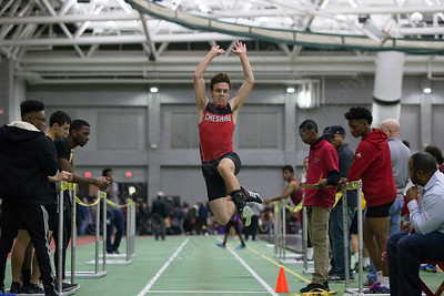 Cheshire's Mark Rubin in long jump Friday during the Indoor Track Finals at the Floyd Little Athletic Center in New Haven February 2, 2018 | Justin Weekes / Special to the Record-Journal