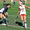 10/25/2009...Northern Highland's Ashley Flynne (7) blocks Allie Chin's pass in the Highlander's 7-4 semifinal win over Old Tappan.<br /> PHOTO: KELLY BIRDSEYE