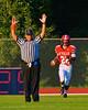 Baldwinsville Bees Cameron Skipworth (22) after scoring a touchdown against the Auburn Maroons at Pelcher-Arcaro Stadium in Baldwinsville, New York on Friday, September 5, 2014. Baldwinsville won 30-8.