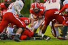Baldwinsville Bees Ben Dwyer (9) sneaks in for the first touchdown against the Utica-Proctor Raiders in Section III Football action at the Pelcher-Arcaro Stadium in Baldwinsville, New York on Friday, October 2, 2015. Baldwinsville won 35-34.