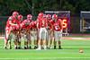 Baldwinsville Bees Quarterback Ben Dwyer (9) calls a play in the huddle against the Cicero-North Syracuse Northstars in Section III Football action at the Pelcher-Arcaro Stadium in Baldwinsville, New York on Friday, October 7, 2016. Cicero-North Syracuse won 20-7.