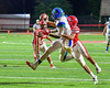 Baldwinsville Bees Brandon Todd (10) knocks the ball way from Cicero-North Syracuse Northstars Receiver Tyler Days (3) in Section III Football action at the Pelcher-Arcaro Stadium in Baldwinsville, New York on Friday, October 7, 2016. Cicero-North Syracuse won 20-7.