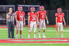 Baldwinsville Bees Captains Mike Spicer (76), Thor Sutphen (32), Dominic Samoraj (11) and Jack Buis (3) accept the ball to start the game against the Cicero-North Syracuse Northstars in Section III Football action at the Pelcher-Arcaro Stadium in Baldwinsville, New York on Friday, October 7, 2016. Cicero-North Syracuse won 20-7.