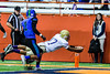 Christian Brothers Academy SirVocea Dennis (17) stretches out to score a touchdown against the  Cicero-North Syracuse Northstars in Section III Class AA Football Championship action at the Carrier Dome in Syracuse, New York on Saturday, November 5, 2016. CBA won 27-14.