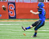 Cicero-North Syracuse Northstars Bradley Davies (30) kicks off against the Christian Brothers Academy in Section III Class AA Football Championship action at the Carrier Dome in Syracuse, New York on Saturday, November 5, 2016. CBA won 27-14.