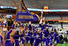 Christian Brothers Academy Cheerleaders celebrate a touchdown against the Cicero-North Syracuse Northstars in Section III Class AA Football Championship action at the Carrier Dome in Syracuse, New York on Saturday, November 5, 2016. CBA won 27-14.