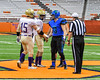 Christian Brothers Academy and Cicero-North Syracuse Northstars captains shake hands before the Section III Class AA Football Championship game at the Carrier Dome in Syracuse, New York on Saturday, November 5, 2016.