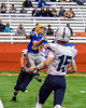 Cazenovia Lakers Matt McLauglin (24) goes up for the ball against the Homer Trojans for a touchdown in Section III Class B Football Championship action at Carrier Dome in Syracuse, New York on Sunday, November 6, 2016.