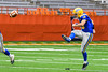 Cazenovia Lakers Nate Morgan (10) kicks off against the Homer Trojans in Section III Class B Football Championship action at Carrier Dome in Syracuse, New York on Sunday, November 6, 2016.