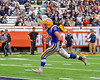 Cazenovia Lakers Cody Thorp (17) runs in for a touchdown after taking a pass from Lakers QB Anthony Vecchiarelli (3) against the Homer Trojans in Section III Class B Football Championship action at Carrier Dome in Syracuse, New York on Sunday, November 6, 2016. Cazenovia won 31-7.